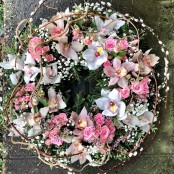 Loose Orchid and Rose Wreath