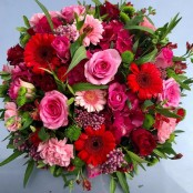 Funeral Flat Posy in Red and Pink