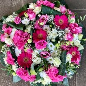 Funeral Flat Posy Pink and White