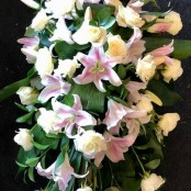 Lilies and Roses Coffin Spray White and Pale Pink