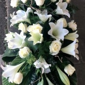 Lilies and Roses Coffin Spray White